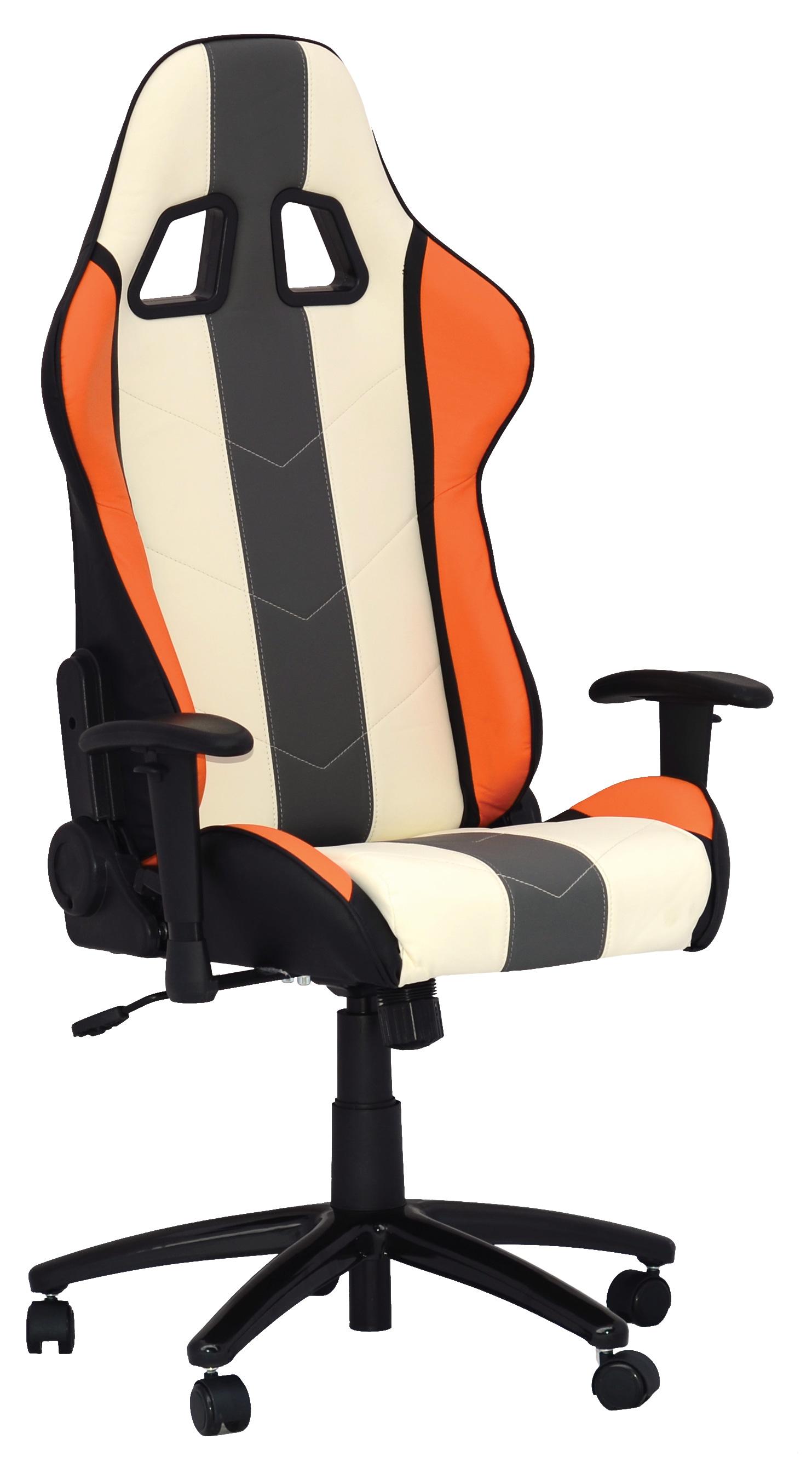 siege bureau blanc noir orange comptoir du tuning. Black Bedroom Furniture Sets. Home Design Ideas