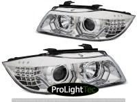 PHARES HEADLIGHTS ANGEL EYES LED 3D CHROME fits BMW E90/E91 05-08 (la paire) [eclcdt_tec_LPBMK7]