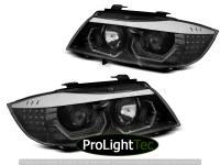 PHARES HEADLIGHTS ANGEL EYES LED 3D BLACK fits BMW E90/E91 05-08 (la paire) [eclcdt_tec_LPBMK8]