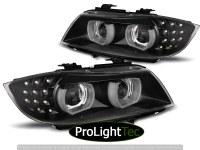 PHARES XENON HEADLIGHTS ANGEL EYES LED DRL BLACK fits BMW E90/E91 09-11 (la paire) [eclcdt_tec_LPBML2]
