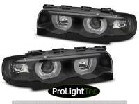 PHARES HEADLIGHTS ANGEL EYES LED 3D BLACK fits BMW E38 94-01 (la paire) [eclcdt_tec_LPBML6]