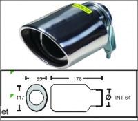 Embout d'échappement d´échappement Inox-sortie : 85x117 mm