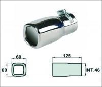 Embout d'échappement d´échappement Inox-sortie : 60x60 mm