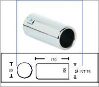 Embout d'échappement d´échappement Inox-sortie 80 mm