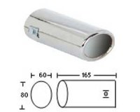 Embout d'échappement d´échappement Inox-sortie : 60x80 mm