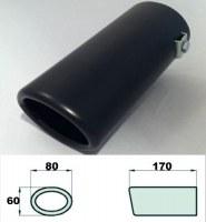 Embout d'échappement d´échappement Noir mat-sortie : 60x80 mm