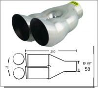 Embout d'échappement d´échappement Inox-sortie : 2x 76 mm
