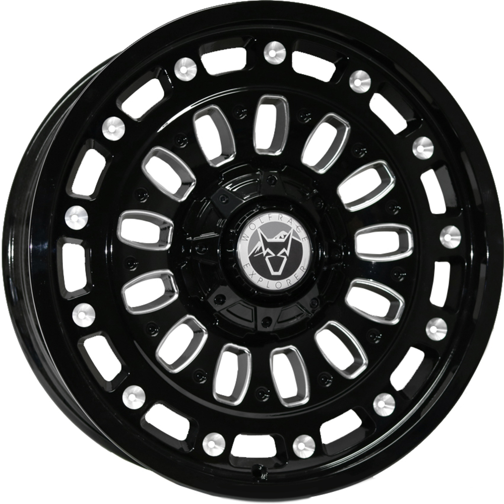 Demon Wheels Explorer Explore Gloss Black Polished Chrome Rivets